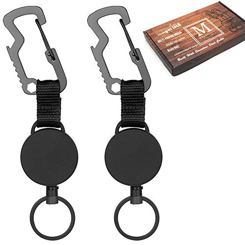 Black 1 Heavy-Duty Retractable Key Chain Retractable Key with 39 Inches Steel Wire Rope